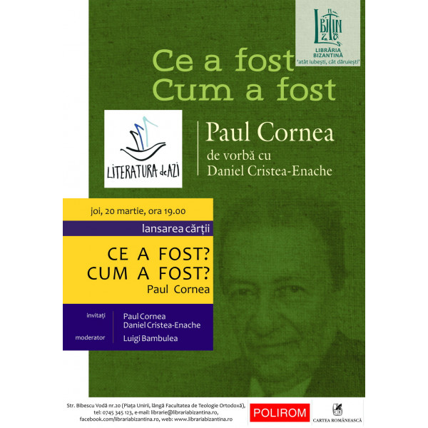 Joi, 20 martie, ora 19:00 - Paul Cornea vs. Daniel Cristea-Enache