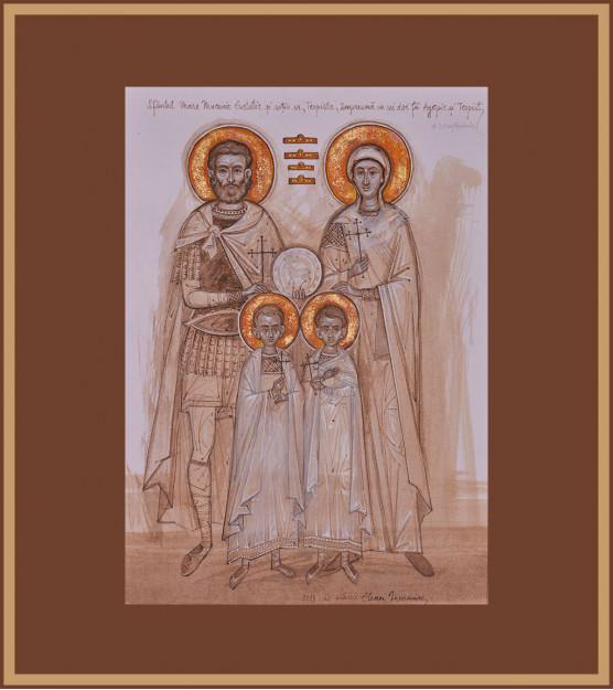 Icoana Sfintii Mucenici Evstatie, Teopista, Agapie si Teopist, Elena Murariu - Martirii, Expo 2019