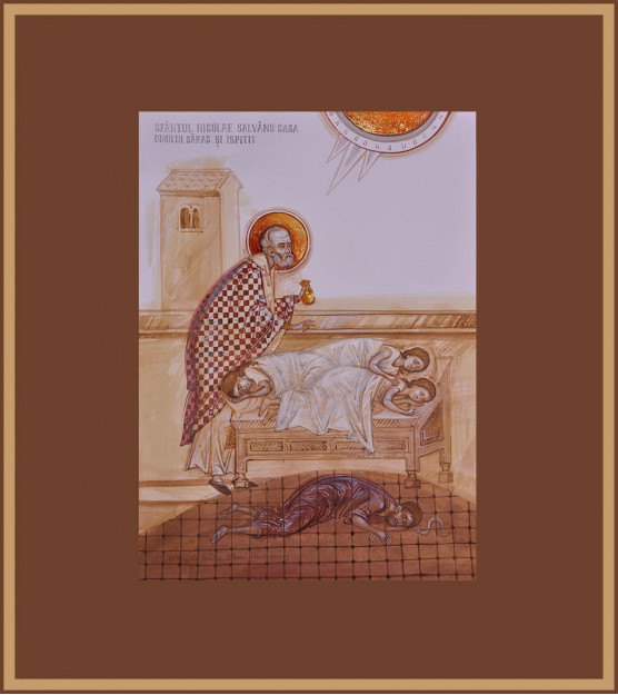 Icoana Sfantul Nicolae salvand casa omului sarac si ispitit, Elena Murariu