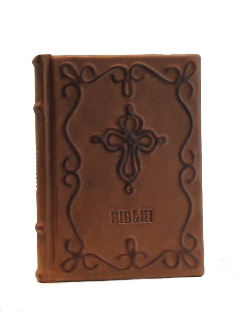 Biblia legata in piele naturala, model sfoara - editie de lux