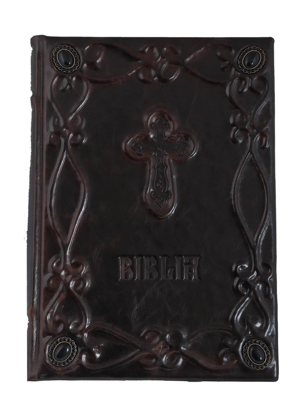 Biblia cu scris mare legata in piele, model cu pietre semipretioase - editie de lux