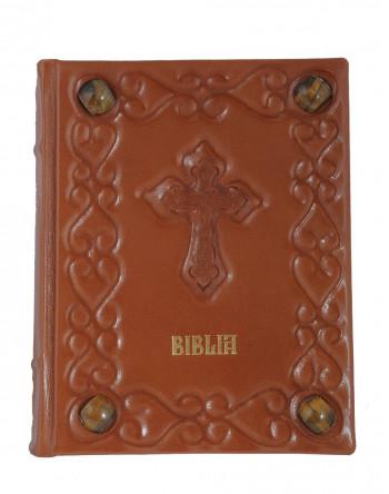 Biblia Anania legata in piele naturala, model sfoara si petre semipretioase