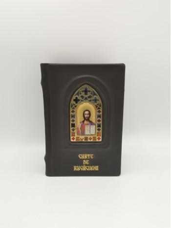Carte de rugaciuni in piele cu vitraliu Mantuitorul Iisus Hristos - Editura Scara