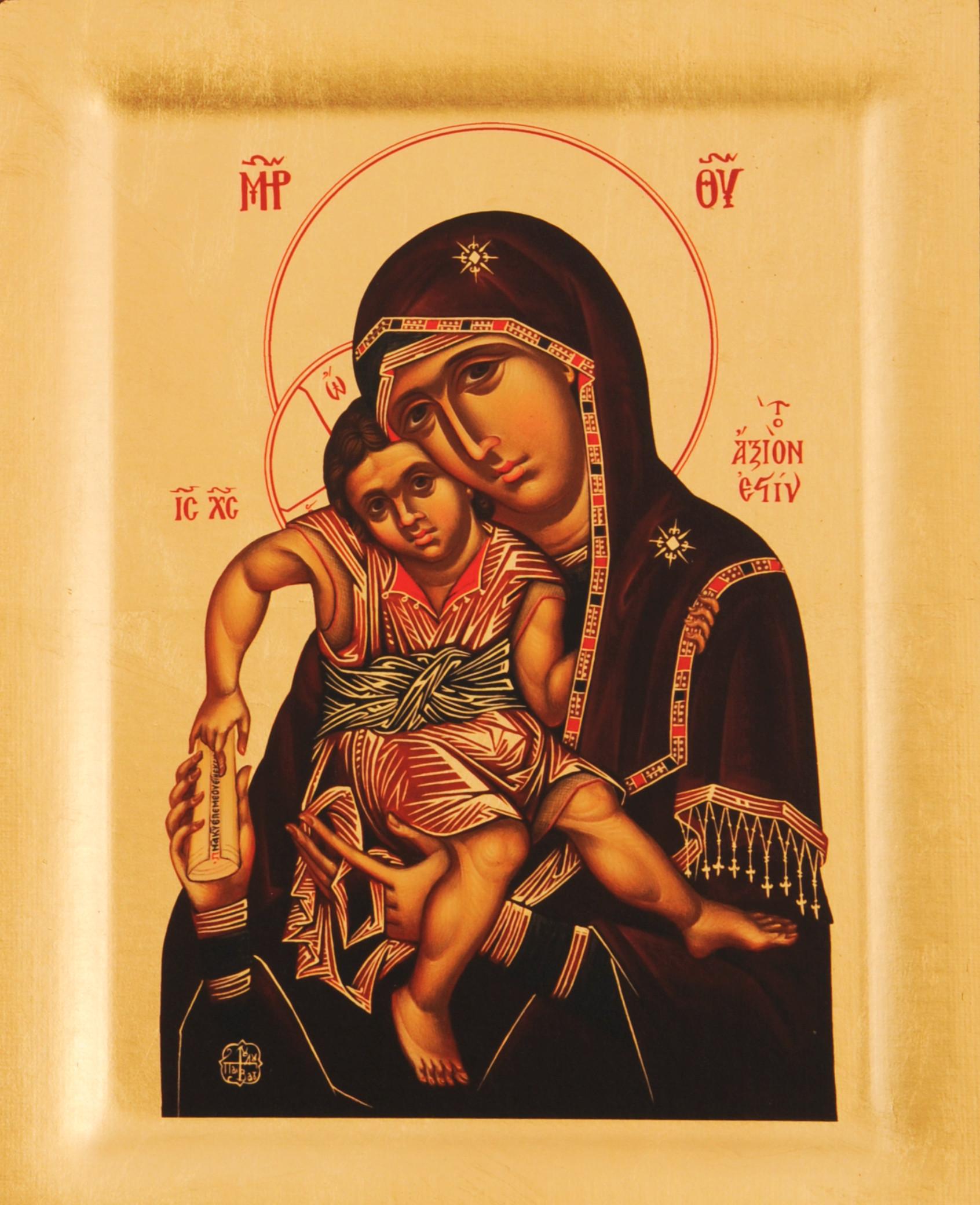 Icoana Maica Domnului Axion Estin – Vrednica esti, Biserica Protaton - Icoana cu foite de aur si matase, pe lemn (reproducere)