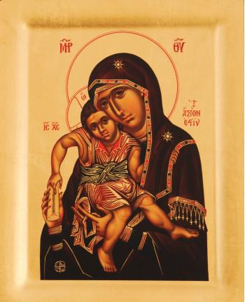 Icoana Maica Domnului Axion Estin – Vrednica esti, Manastirea Protaton - Icoana cu foite de aur si matase, pe lemn (reproducere)