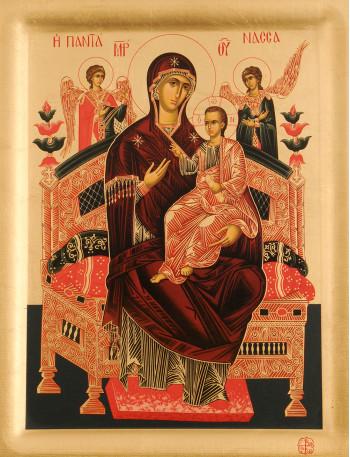 Icoana Maica Domnului Pantanassa – Imparateasa tuturor, Manastirea Vatopedi - Icoana cu foita de aur si matase, pe lemn (reproducere)