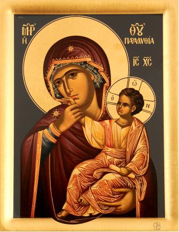 Icoana Μaica Domnului Mangaietoarea - Paramythia, Manastirea Vatopedi - Icoana cu foita de aur si matase, pe lemn (reproducere