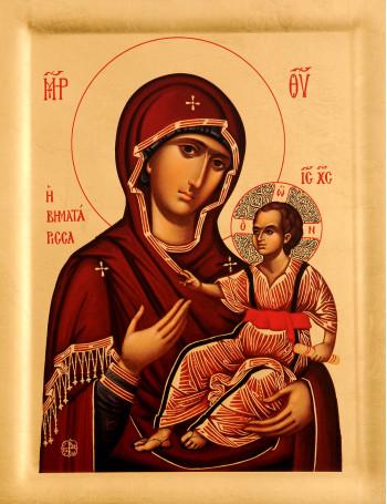 Icoana Maica Domnului Intemeietoarea - Vimatarissa (Ktitorissa), Manastirea Vatopedi - Icoana cu foita de aur si matase, pe lemn (reproducere)