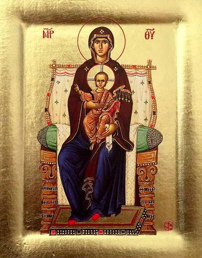 Icoana Maica Domnului cu Pruncul pe tron - Icoana cu foita de aur si matase, pe lemn (reproducere)