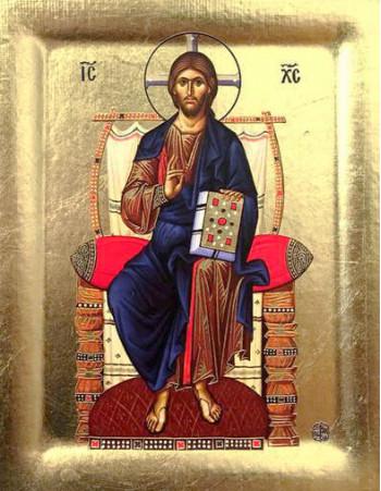 Icoana Mantuitorului pe Tron - Icoana cu foita de aur si matase, pe lemn (reproducere)