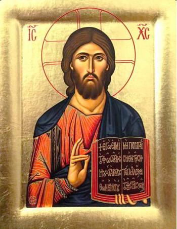 Icoana Mantuitorul Iisus Hristos - Icoana cu foita de aur si matase, pe lemn (reproducere)
