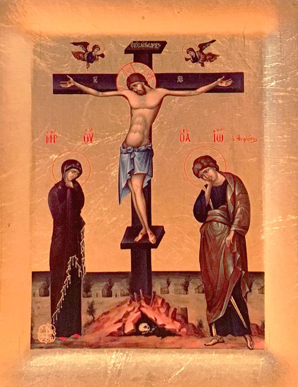 Icoana Rastignirea Domnului - Icoana cu matase si foita de aur, pe lemn (reproducere)