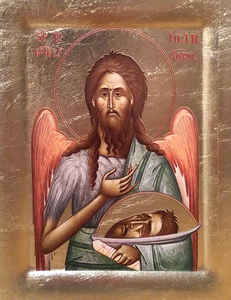Icoana Sfantul Ioan Botezatorul - Icoana cu foita de aur si matase, pe lemn (reproducere)