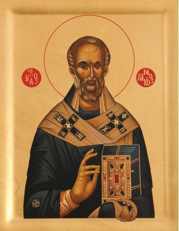Icoana Sfantului Ierarh Nicolae - Icoana cu foita de aur si matase, pe lemn (reproducere)