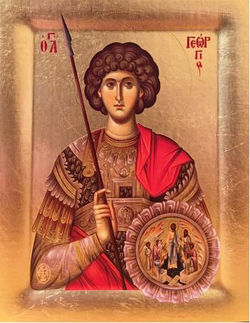 Icoana Sfantul Mare Mucenic Gheorghe - Icoana cu foita de aur si matase, pe lemn (reproducere)