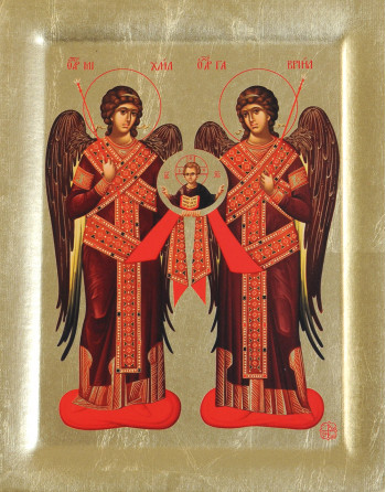 Icoana Sfintii Arhangheli Mihail si Gavriil - Icoana cu foita de aur si matase, pe lemn (reproducere)