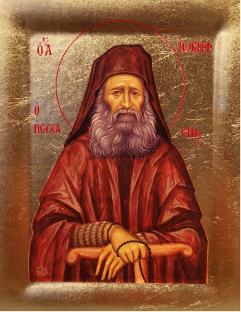 Icoana Sfantul Iosif Isihastul - Icoana cu foita de aur si matase, pe lemn (reproducere)