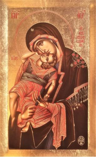 Icoana Maicii Domnului Cea Plina de Har Keharitomeni de la Manastirea Xenofont - Icoana cu foita de aur si matase pe lemn (reproducere)
