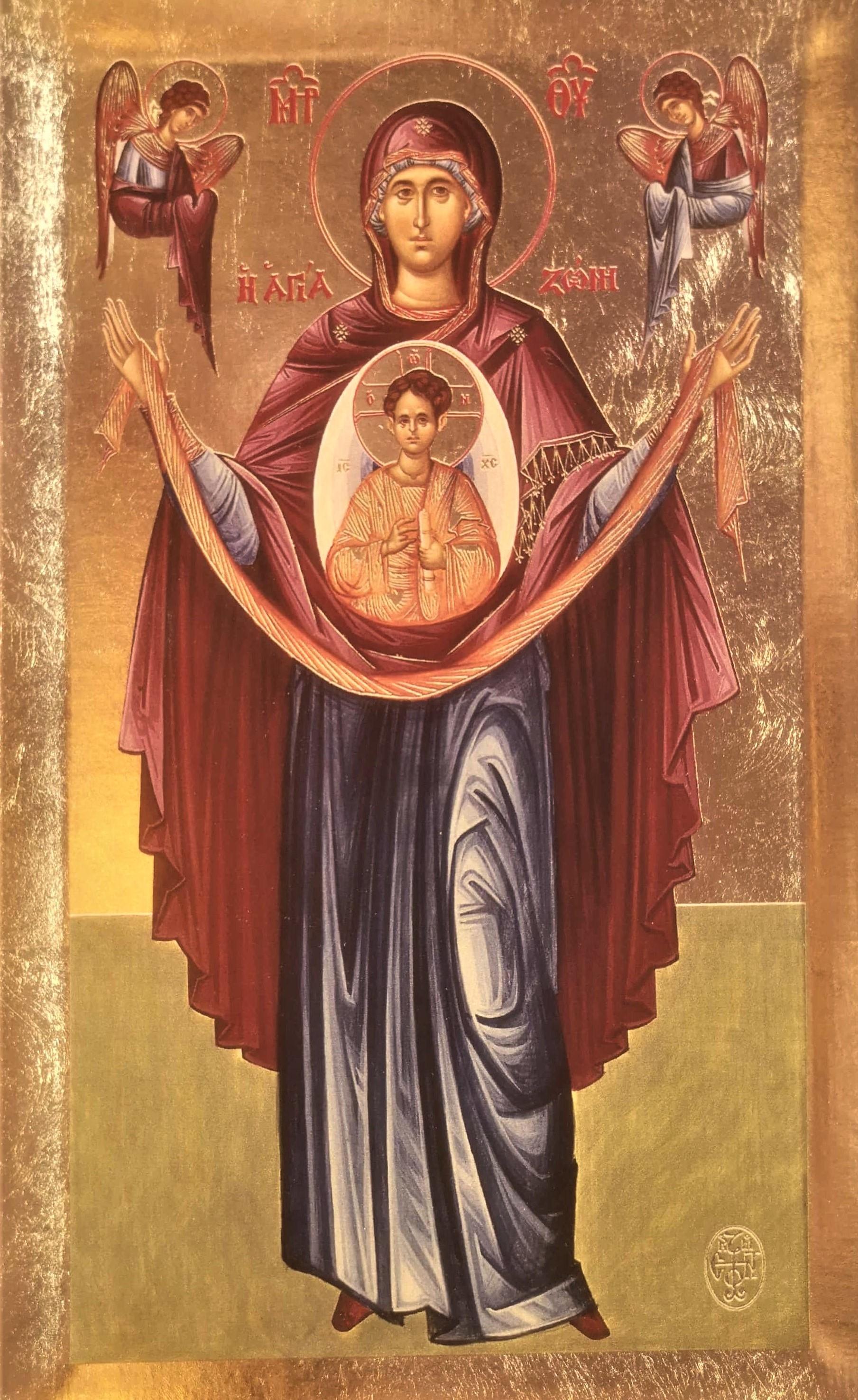 Icoana Sfantul Brau al Maicii Domnului de la Manastirea Xenofont - Icoana cu foita de aur si matase pe lemn (reproducere)