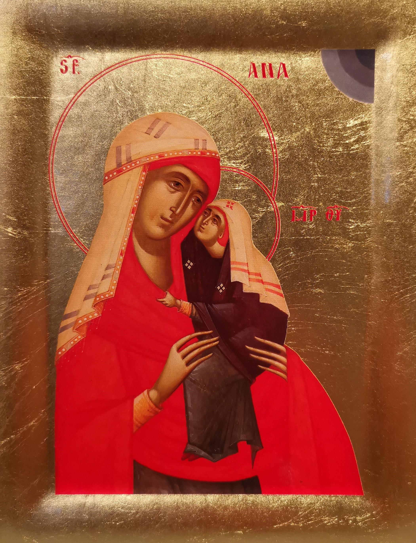 Icoana Sfanta Ana - Icoana cu foita de aur si matase, pe lemn (reproducere)