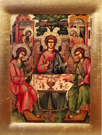 Icoana Sfanta Treime de la Manastirea Cozia - Icoana cu foita de aur si matase, pe lemn (reproducere)