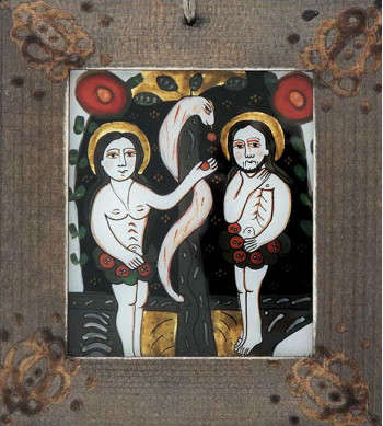 Icoana pictata pe sticla Adam cu Eva
