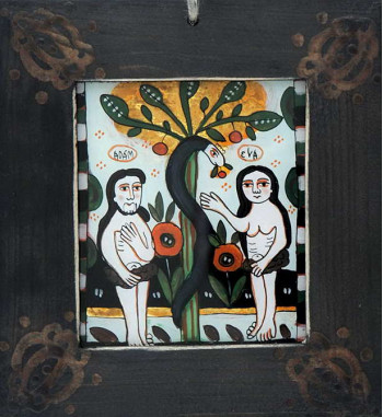 Icoana pictata pe sticla Adam si Eva