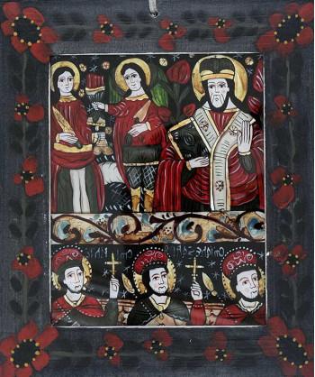 Icoana pictata pe sticla Mihail cu Gavril