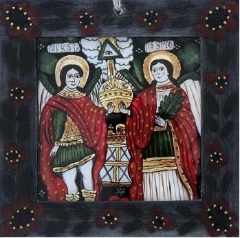 Icoana pictata pe sticla Mihail cu Gavril, mica