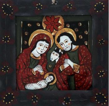 Icoana pictata pe sticla Nasterea Domnului