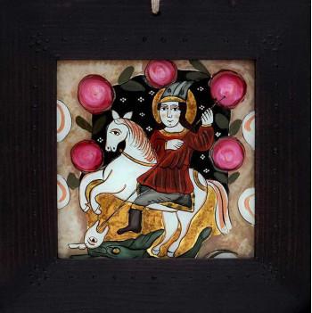 Icoana pictata pe sticla Sfantul Mare Mucenic Gheorghe