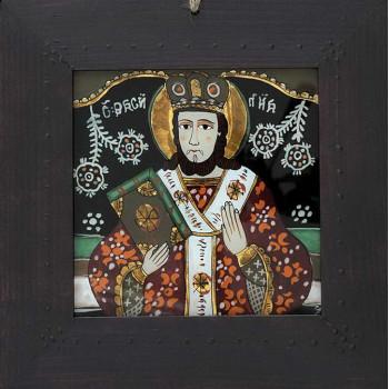 Icoana pictata pe sticla Sfantul Vasile. Mare feritoriu de bleastame