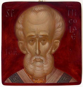 Icoana pictata pe lemn, Sf. Ierarh Nicolae, mica
