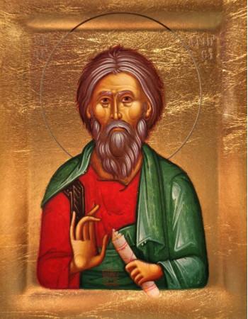 Icoana Sfantul Apostol Andrei - Icoana cu foita de aur si matase, pe lemn (reproducere)