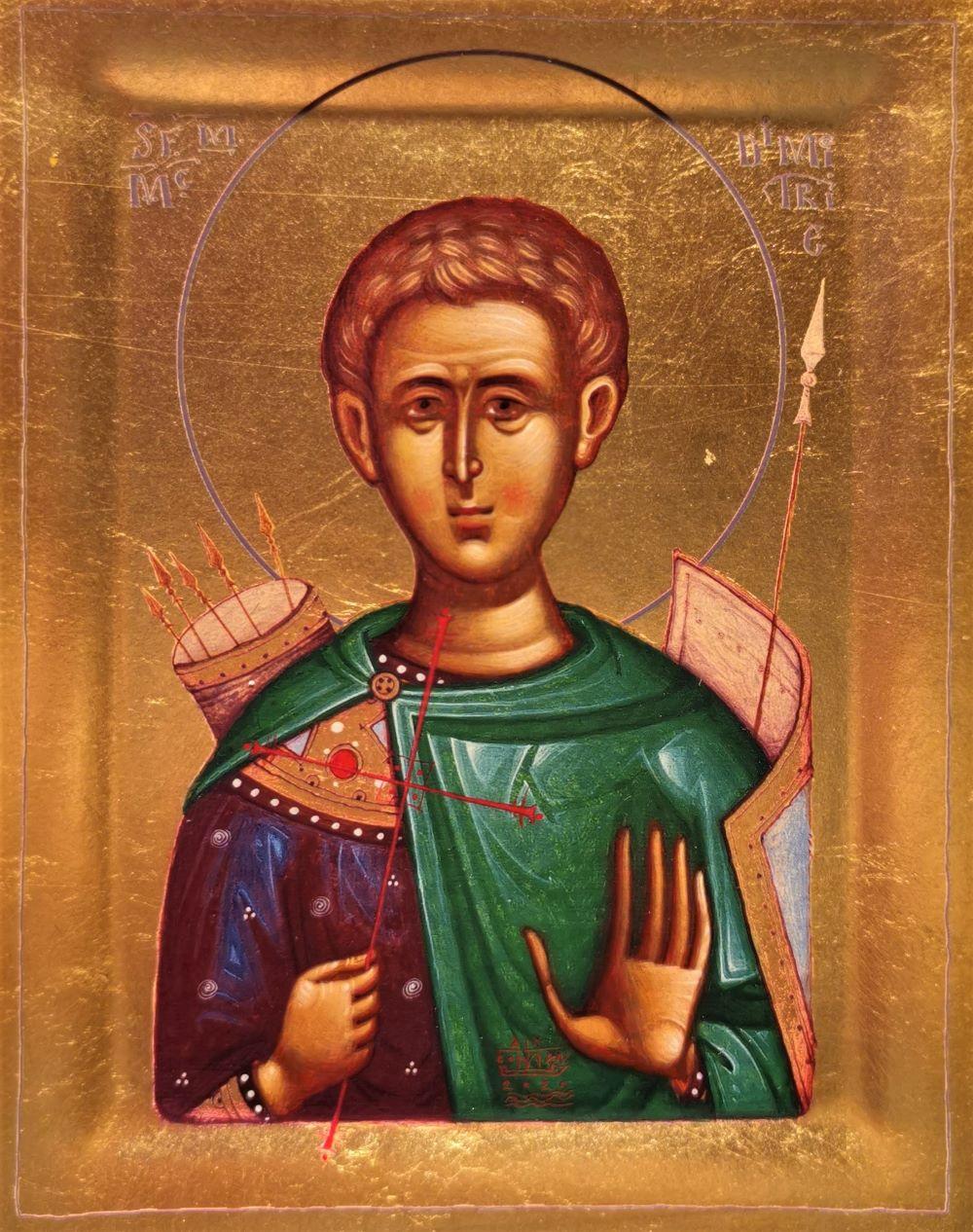 Icoana Sfantul Dumitru - Icoana cu foita de aur si matase, pe lemn (reproducere)
