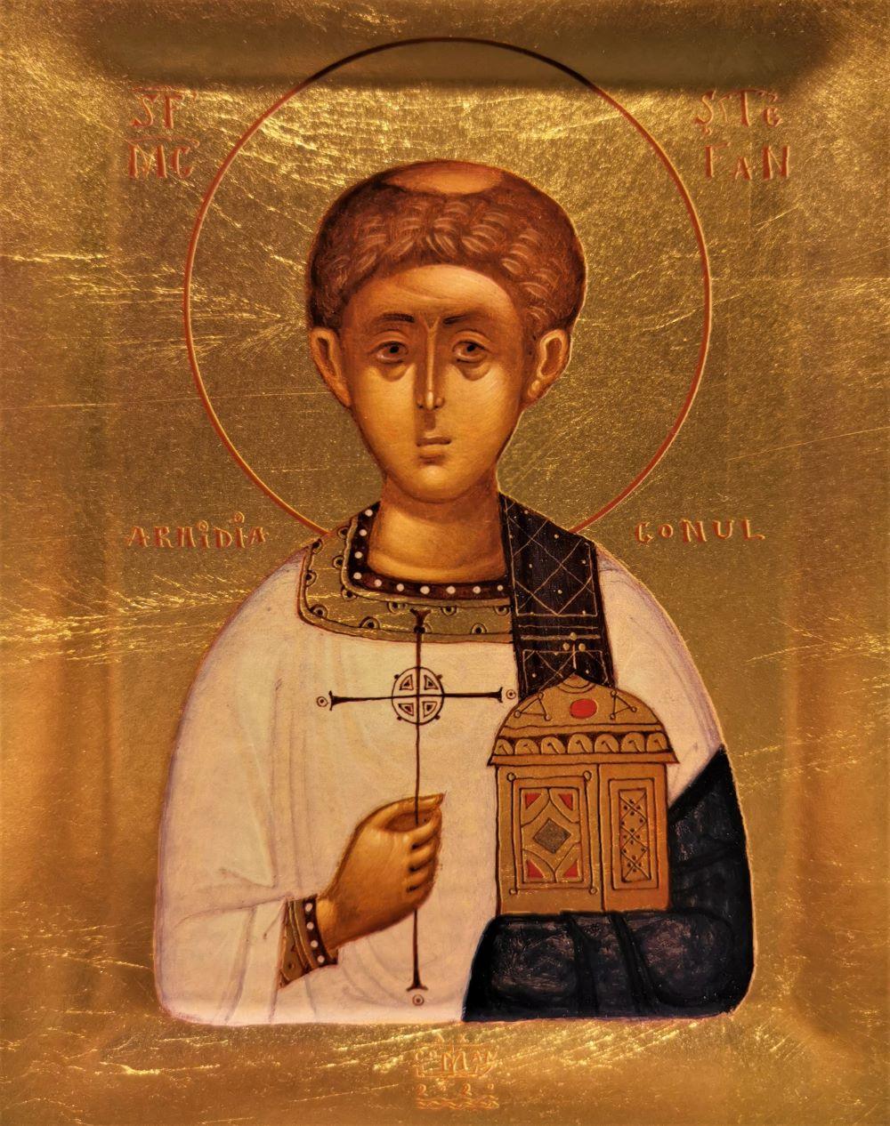 Icoana Sfantul Stefan - Icoana cu foita de aur si matase, pe lemn (reproducere)