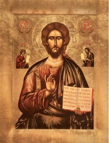 Icoana Mantuitorul Iisus Hristos de la Cozia - Icoana cu foita de aur si matase, pe lemn (reproducere)
